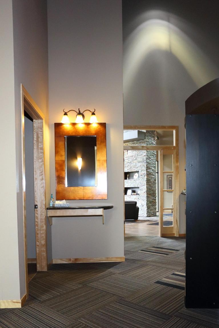 The Mirror and Bathroom at Dental Health Partners in Mitchell, SD